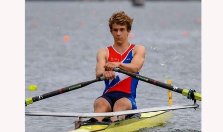 Elliott Rose came 1st in the Boys' U16 single sculls C final at Maadi this year